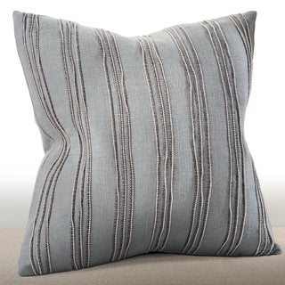 Chauran Cirque Mist Feather and Down-filled 16-inch Pillow with Hand-applied Beaded Leather Cord