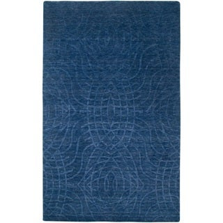 Rizzy Home Uptown Collection Handmade Solid Wool Blue Rug (5'6 x 8'6)