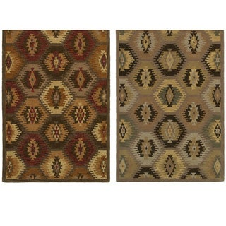 Rizzy Home Southwest Collection Hand-tufted Geometric Wool Tan/ Brown Rug (8' x 10')