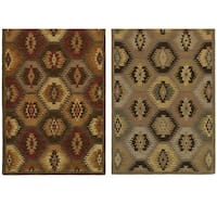 Rizzy Home Southwest Collection Hand-tufted Geometric Wool Tan/ Brown Rug - 8' x 10'