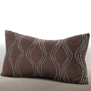 Chauran Cirque Espresso Linen Feather and Down-filled Lumbar Pillow with Hand-applied Beaded Leather Cord
