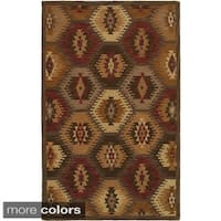 Rizzy Home Southwest Collection Hand-tufted Geometric Wool Tan/ Brown Rug (5' x 8') - 5' x 8'