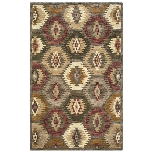 Rizzy Home Southwest Collection Hand-tufted Geometric Wool Tan/ Brown Rug (5' x 8')