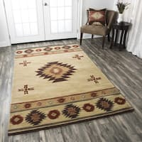 Rizzy Home Southwest Collection Hand-tufted Geometric Wool Red/ Green/ Beige Rug - 9' x 12'