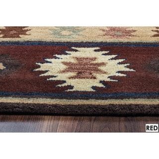 Rizzy Home Southwest Collection Hand-tufted Geometric Wool Red/ Green/ Beige Rug (9' x 12')
