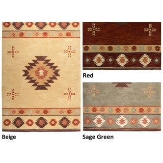 Rizzy Home Southwest Collection Hand-tufted Geometric Wool Red/ Green/ Beige Rug (8' x 10')