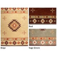 Rizzy Home Southwest Collection Hand-tufted Geometric Wool Red/ Green/ Beige Rug - 8' x 10'