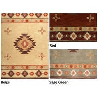 Rizzy Home Southwest Collection Hand-tufted Geometric Wool Red/ Green/ Beige Rug (8' x 10') - 8' x 10'
