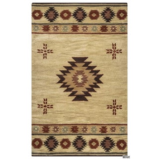 Rizzy Home Southwest Collection Hand-tufted Geometric Wool Red/ Green/ Beige Rug (8' x 10') - 8' x 10' (3 options available)