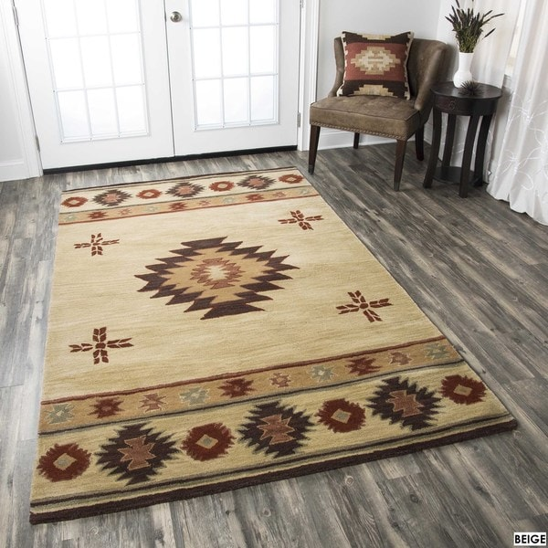 Ryder Collection Hand-tufted Geometric Wool Red/ Green/ Beige Rug (8' x 10')
