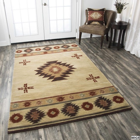 Rizzy Home Southwest Collection Hand-tufted Geometric Wool Red/ Green/ Beige Rug (5' x 8') - 5' x 8'