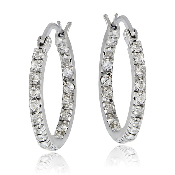 Crystal Ice Sterling Silver Swarovski Elements Inside Out Small Hoop Earrings