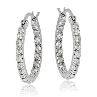 Crystal Ice Sterling Silver Swarovski Elements Inside-Out Small Hoop Earrings