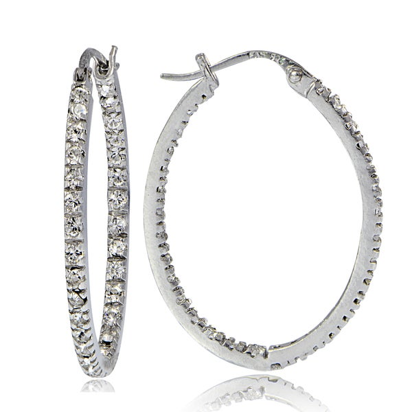 6eb7ac5b7 Crystal Ice Sterling Silver with Swarovski Elements Inside-Out 32mm Oval  Hoop Earrings