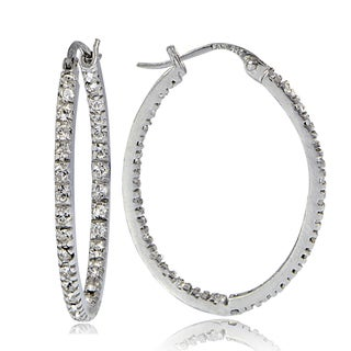 Crystal Ice Sterling Silver with Swarovski Elements Inside-Out 32mm Oval Hoop Earrings
