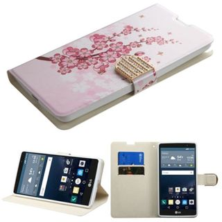 Insten Pink/ White Leather Phone Case Cover with Stand/ Wallet Flap Pouch/ Diamond For LG G Stylo