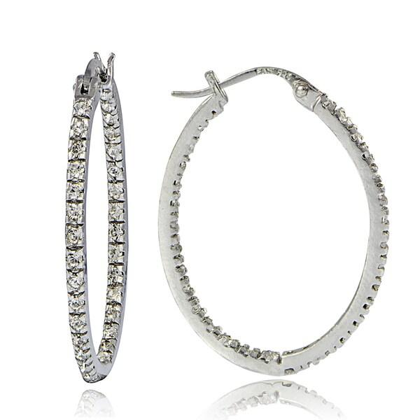 Crystal Ice Sterling Silver Swarovski Elements InsideOut 28mm Oval Hoop Earrings