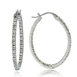 Crystal Ice Sterling Silver Swarovski Elements InsideOut 28mm Oval Hoop Earrings