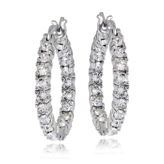 Crystal Ice Sterling Silver with Swarovski Elements Inside-Out Hoop Earrings