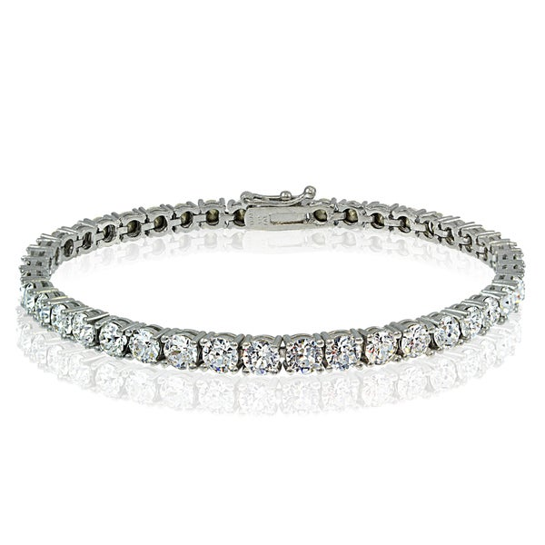 Shop Crystal Ice Sterling Silver 4mm Swarovski Elements Tennis ... fc27740858