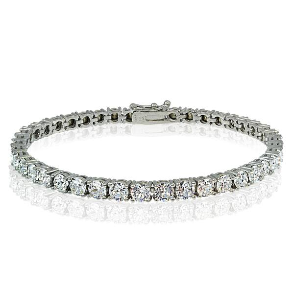 Crystal Ice Sterling Silver 4mm Swarovski Elements Tennis Bracelet
