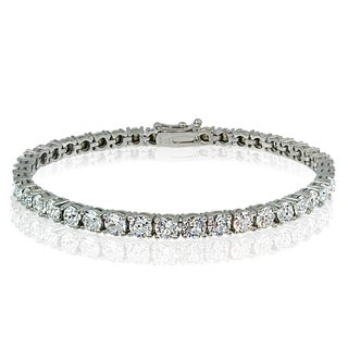 Crystal Ice Sterling Silver 4mm Swarovski Elements Tennis Bracelet