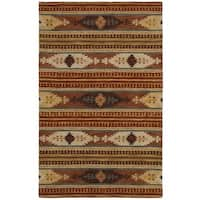 Rizzy Home Southwest Collection Handmade Geometric Wool Brown/ Rust Rug - 9' x 12'