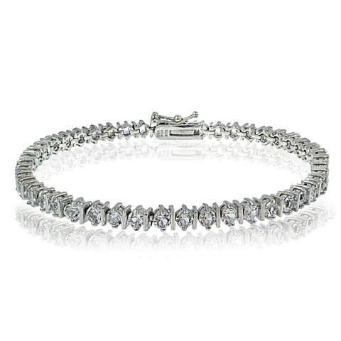 Crystal Ice Sterling Silver Swarovski Elements Classic Illusion Tennis Bracelet