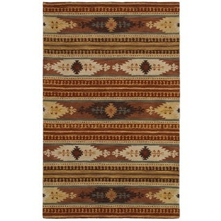 Rizzy Home Southwest Collection Hand-crafted Geometric Wool Rust/ Brown Rug (8' x 10')