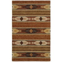 Rizzy Home Southwest Collection Hand-crafted Geometric Wool Rust/ Brown Rug - 8' x 10'