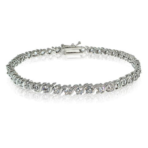 Crystal Ice Sterling Silver Swarovski Elements S Design Tennis Bracelet