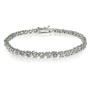 Crystal Ice Sterling Silver Swarovski Elements S Design Tennis Bracelet