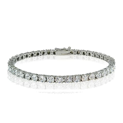 Crystal Ice Sterling Silver 3mm Swarovski Elements Classic Tennis Bracelet