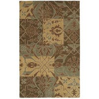 Rizzy Home Southwest Collection Hand-tufted Geometric Wool Green/ Brown Rug (9' x 12')