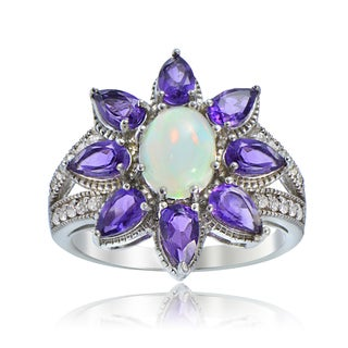 Glitzy Rocks Sterling Silver Ethiopian Opal and African Amethyst Flower Ring