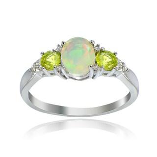 Glitzy Rocks Sterling Silver Ethiopian Opal Peridot and White Topaz Ring