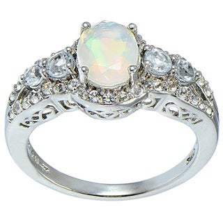 Glitzy Rocks Sterling Silver Ethiopian Opal Blue and White Topaz Ring