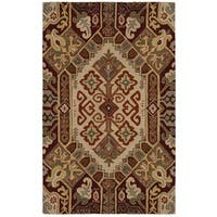 Rizzy Home Southwest Collection Hand-tufted Geometric Wool Beige/ Rust Rug - 5' x 8'