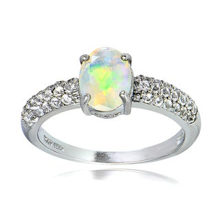 Glitzy Rocks Sterling Silver Ethiopian Opal and White Topaz Oval Ring