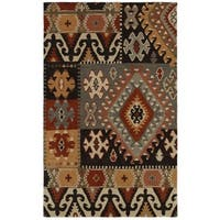 Rizzy Home Southwest Collection Hand-tufted Geometric Wool Grey/ Brown Rug - 5' x 8'