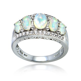 Glitzy Rocks Sterling Silver Ethiopian Opal and White Topaz 5-stone Band Ring