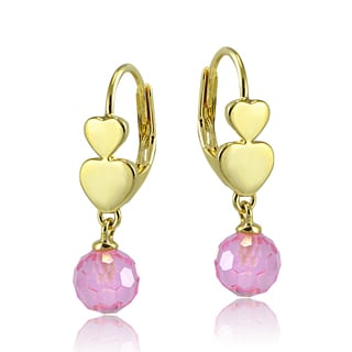 ICZ Stonez Goldtone Pink Cubic Zirconia Drop Ball Children's Leverback Earrings