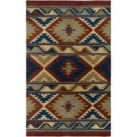 Rizzy Home Southwest Collection Handmade Geometric Wool Beige/ Rust Rug - 5' x 8'
