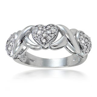 DB Designs 1/4ct TDW Diamond Heart and X Ring