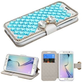 Insten Leather Wallet Flap Pouch Diamond Bling Phone Case Cover with Stand For Samsung Galaxy S6 Edge