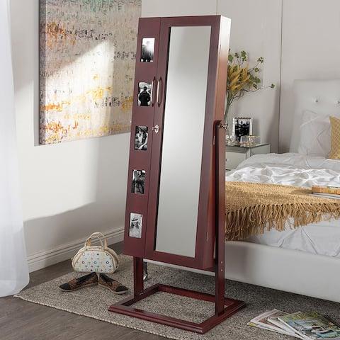 Volek Contemporary Brown Square Foot Floor Standing Double Door Beauty and Jewelry Armoire