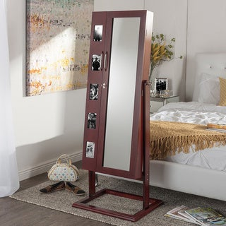 Volek Contemporary Brown Square Foot Floor Standing Double Door Beauty and Jewelry Armoire