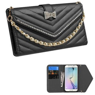 Insten Slim Leather Wallet Flap Pouch Phone Case Cover Chain with Diamond For Samsung Galaxy S6 Edge