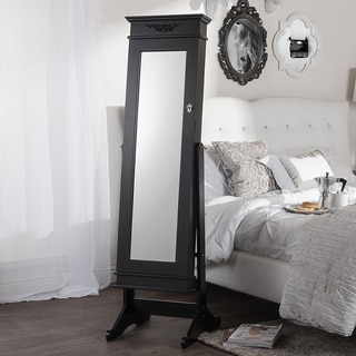 Vickers Contemporary Black Floor Standing Wooden Mirror Jewelry Cabinet