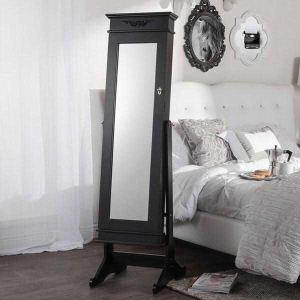 Vickers Contemporary Black Floor Standing Wooden Mirror Jewelry Cabinet